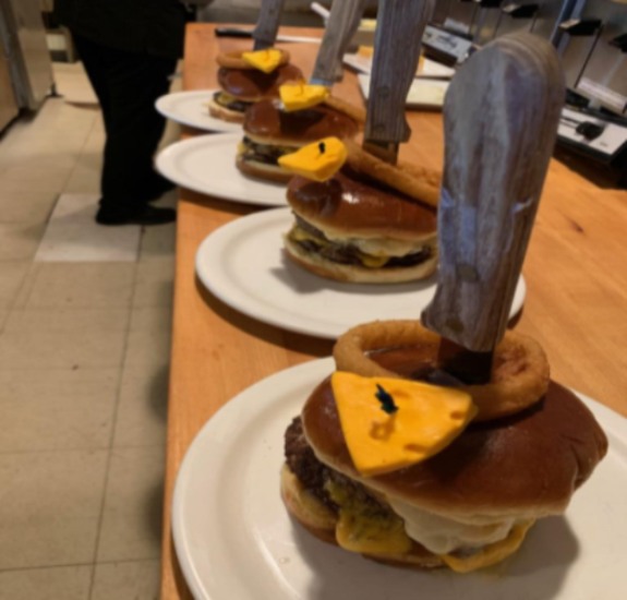 BURGERS SO BIG WE INCLUDE A LARGE KNIFE TO CUT IT
