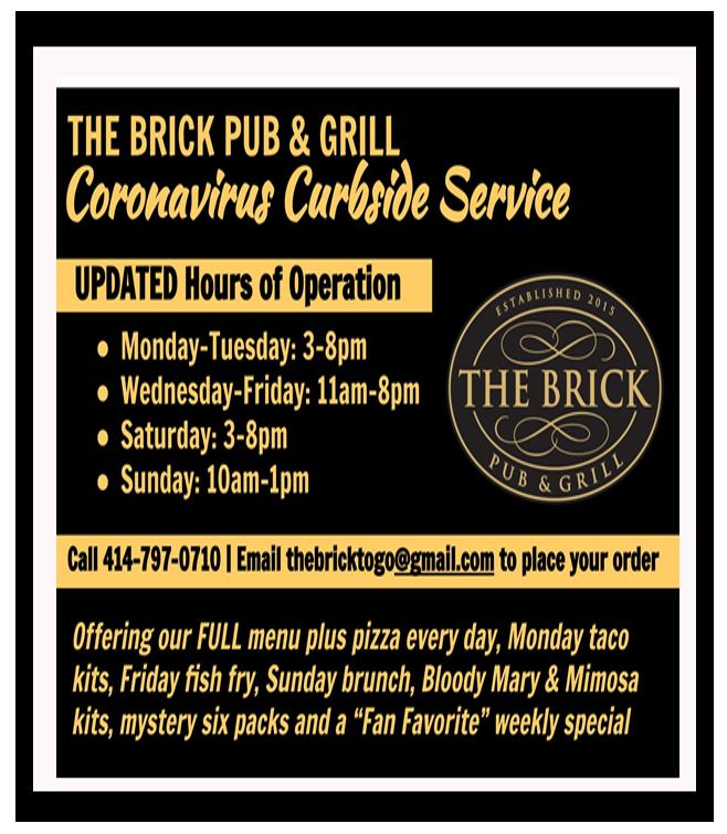 The Brick Pub & Grill Now Open for Dine-In and May Events