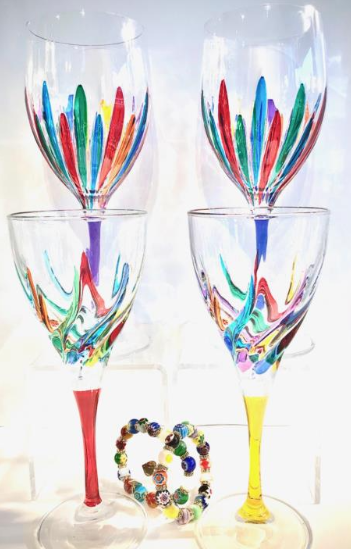 FREE - GAGE Exclusive Handmade Italian Crystal Wine Glasses or Murano Bracelet's