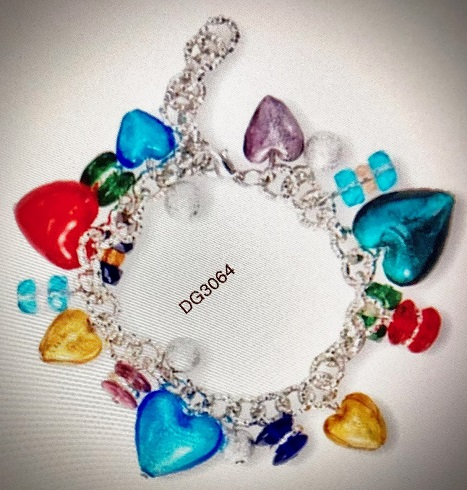 Handmade Italian Sterling Murano Multi Heart Bracelet - Exceptional Price from Gage
