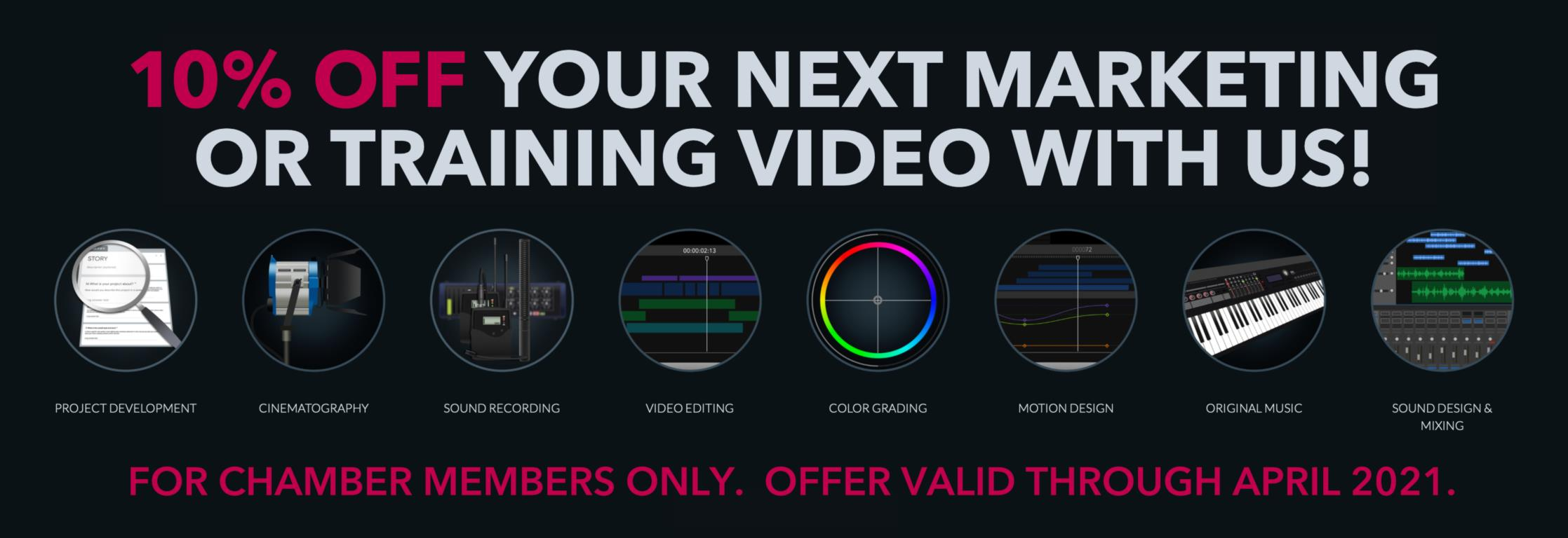 10% OFF Your Next Marketing or Training Video